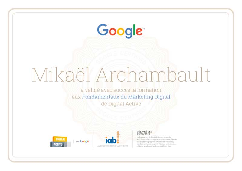 certifié Digital Active par Google